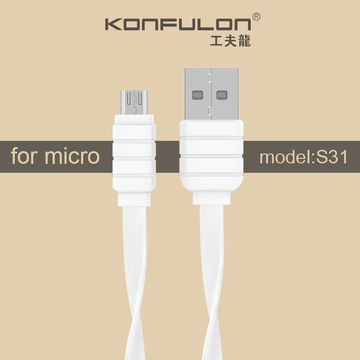 Кабель Lightning USB Белый, плоский, Flat Cable KFL-S32 1.2m 2.1A, Konfulon