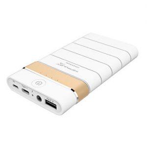 Зарядное устройство, аккумулятор Konfulon Power Bank M8 8000mAh (Quick charge 3.0) Цвет: Белый с золотой полосой