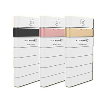 Зарядное устройство, аккумулятор Konfulon Power Bank M8 8000mAh (Quick charge 3.0) Цвет: Белый с розово-золотой полосой
