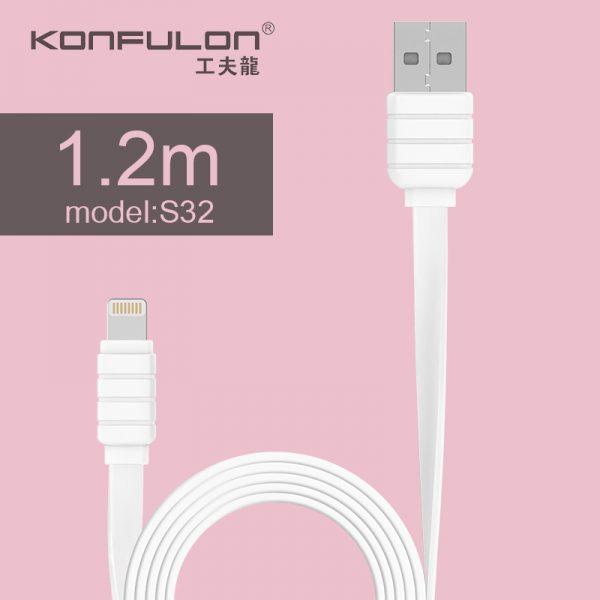 Type-C, USB Белый плоский кабель, Flat Cable KFL-S33 1.2m, 2.1A