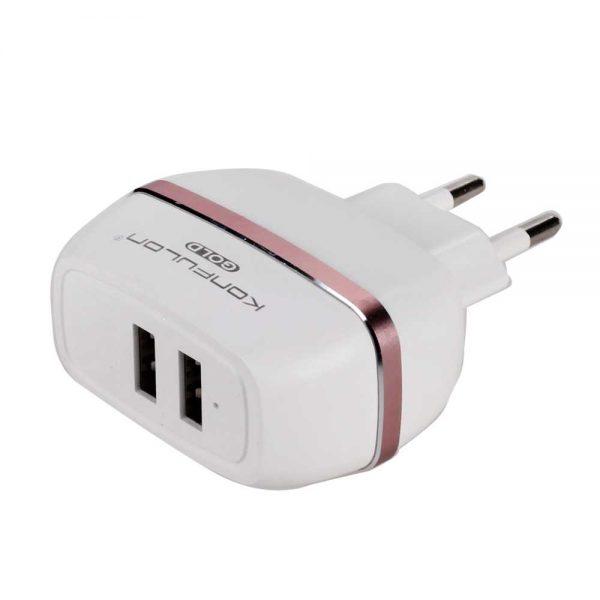 Зарядное устройство Charger 2 порта USB, AC/DC C23 2.4A Konfulon